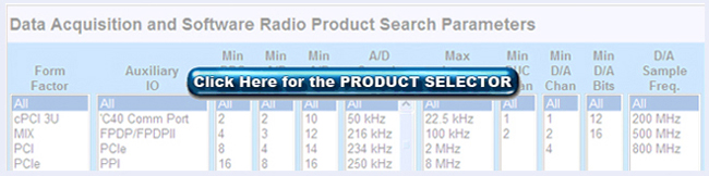 Data Acquisition and Software Radio Product Select Tool